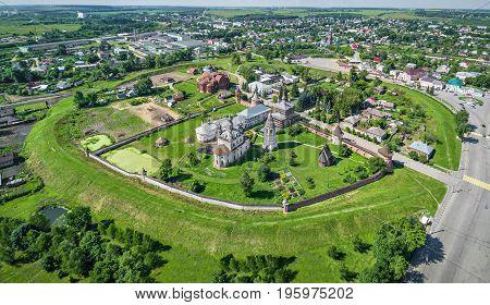 Aerial view of preserved earthworks of Yuryev-Polsky kremlin from 12th century Vladimir oblast Russia