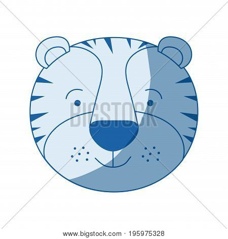 blue color shading silhouette caricature face of male tiger animal vector illustration