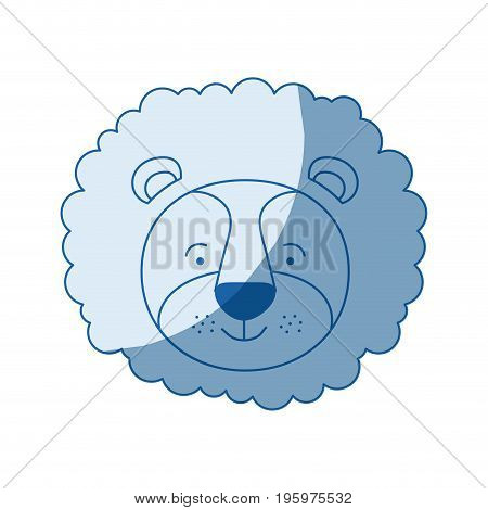 blue color shading silhouette caricature face of male lion animal vector illustration