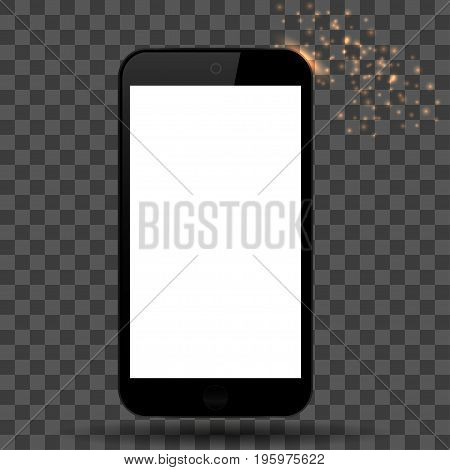 Black phone with shadow on a plaid background