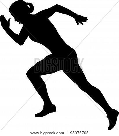 girl athlete runner starting running black silhouette