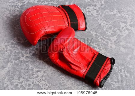 Knock Out And Strong Punch Concept. Pair Of Boxing Sportswear