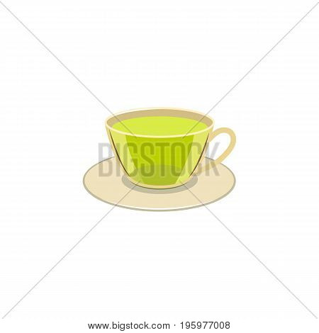 Vector cap of green tea flat isolated illustration on a white background. Cartoon glass of green drink on the saucer, herbal tea bag. Healthy beverage, lifestyle concept