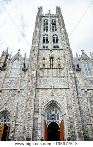 Kingston, Canada - July 23, 2014: Saint Mary's Cathedral Exterior With Stone Architecture And Open D