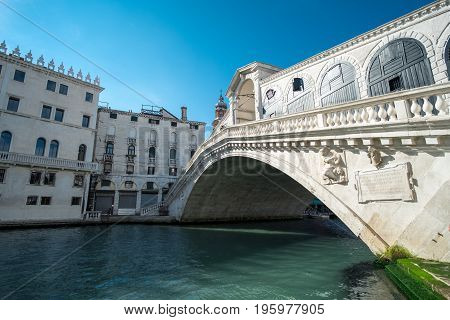 Venice, Italy - 21 May 2017 : View Of Building Along The Grand Canal At Rialto Bridge In Venice.