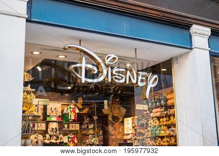 Venice Italy - 21 May 2017 : Exterior view of Disney Store in Venice. It is a Disney retail chain selling official character toys clothesand collectibles.
