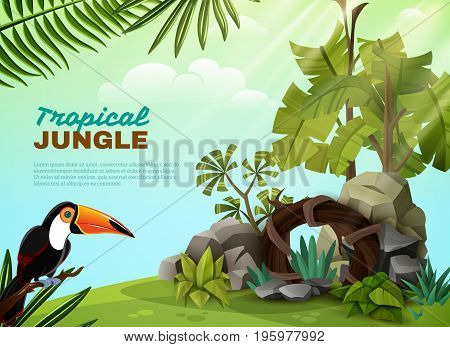 Tropical jungle landscape design composition with rock garden elements toucan bird and plants background poster vector illustration