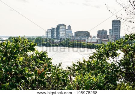Skyline Or Cityscape Of Hull In Gatineau, Quebec With River In Ottawa, Canada