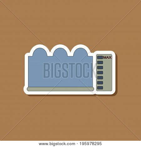 paper sticker on stylish background of wave height