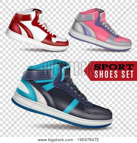 Collection of colored sport shoes on transparent background in realistic style for advertising in wholesale and retail trade isolated vector illustration
