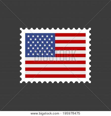 USA Flag Postage Mail Stamp. Vector illustration