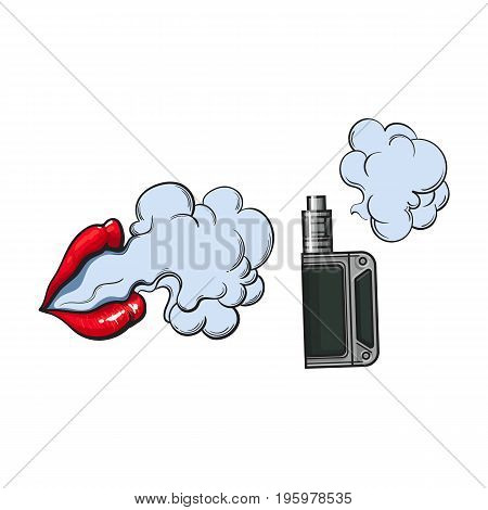 Hand drawn vape, vaping device and smoke coming out of beautiful lips, sketch vector illustration isolated on white background. Realistic hand drawing of vape, vaporizer device and smoking female lips