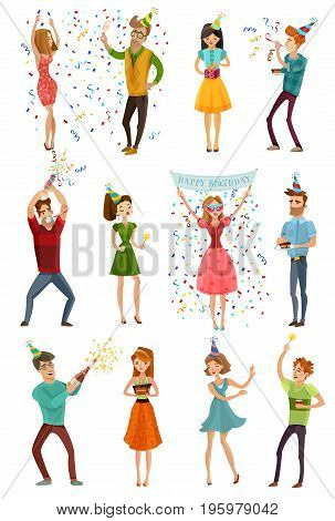 Birthday party celebrating people 12 figures collection in funny hats with colorful confetti streamers isolated vector illustration