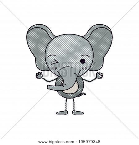 color crayon silhouette caricature of cute elephant wink eye expression vector illustration