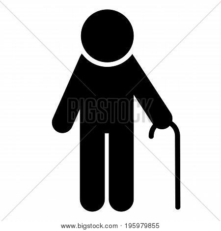Elderly man with walking stick icon. Pensioner silhouette symbol. Vector illustration