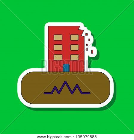 paper sticker on stylish background of disaster earthquake