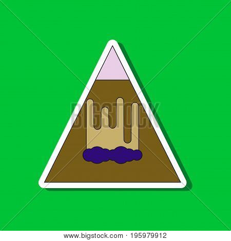 paper sticker on stylish background of mountain avalanche