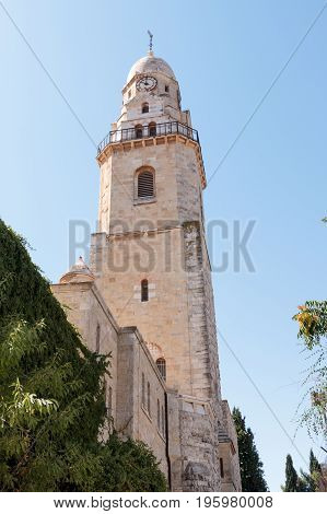 The Tower of David over the Tomb of King David in Dormition abbey in the Old City of Jerusalem Israel