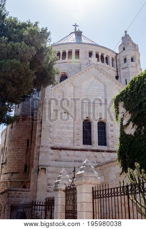 The Dormition abbey in the Old City of Jerusalem Israel