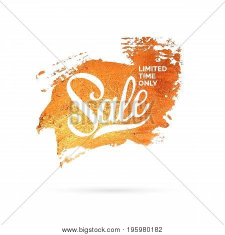 Gold brush strokes. Beautiful texture of the glitter on light background. Abstract blur. Sale and discount poster.