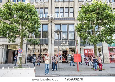 HAMBURG , GERMANY - JULY 14 2017 : The Jack Wolfstone store is located is located directly close to the townhall in the city of Hamburg