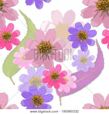Cosmos. Texture of flowers. Seamless pattern for continuous replicate. Floral background photo collage