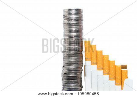 Isolated concept of rising expenses and sin tax with money and cigarettes