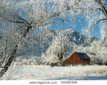 Old barn after a spring snow in Boulder, Colorado