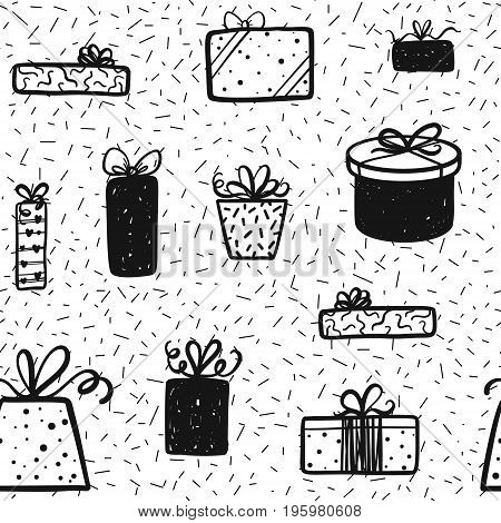 Promotional Gift Box Seamless Pattern Background. Vector Sale, Shopping, Birthday Design For Banner,
