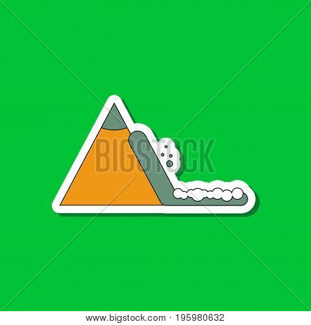 paper sticker on stylish background of snow avalanche