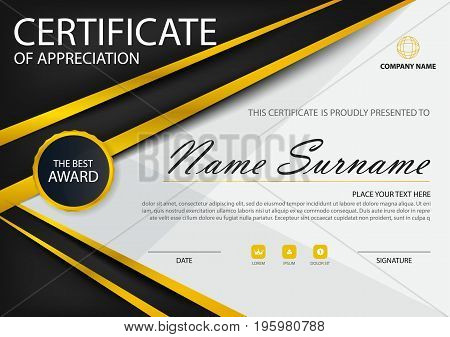 Gold black Elegance horizontal certificate with Vector illustration white frame certificate template with clean and modern pattern presentation