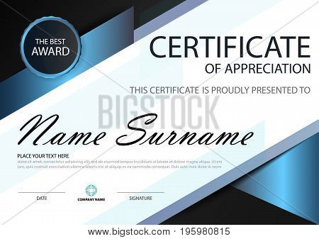 Blue black Elegance horizontal certificate with Vector illustration white frame certificate template with clean and modern pattern presentation