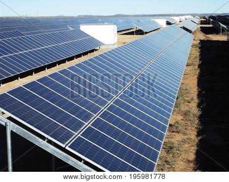 Solar panel row on a renewable energy farm