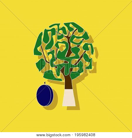 paper sticker on stylish background of plant Prunus
