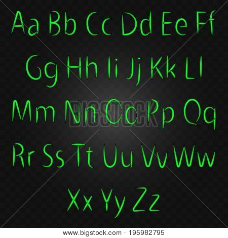Glowing neon letters, VECTOR alphabet on black background