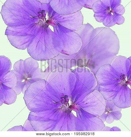 Geranium pelargonium. Texture of flowers. Seamless pattern for continuous replicate. Floral background photo collage for production of textile cotton fabric. For use in wallpaper covers