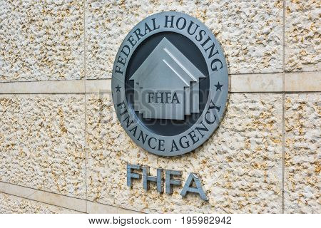 Washington Dc, Usa - July 3, 2017: Federal Housing Finance Agency Seal In Downtown With Closeup Of S