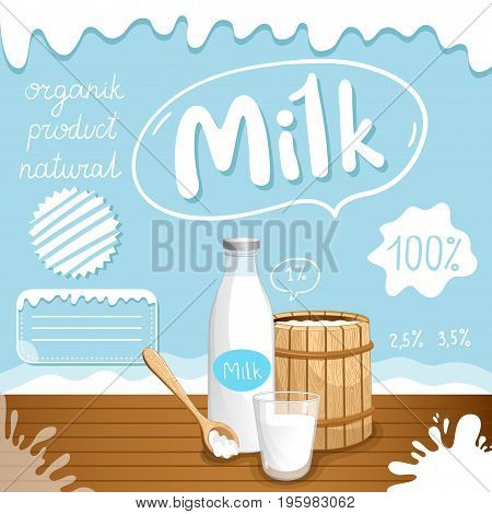 Dairy poster with milk barrel and glass bottle on wooden table. Natural and organic dairy product, fresh and healthy farm food. Milk retail advertising or product presentation vector illustration