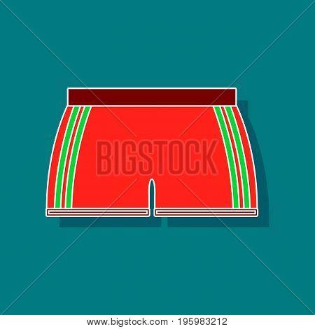 paper sticker on stylish background athletic shorts
