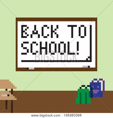 Pixel image of the classroom for the holiday of knowledge on September 1. The white chalkboard shows the inscription Back to school!