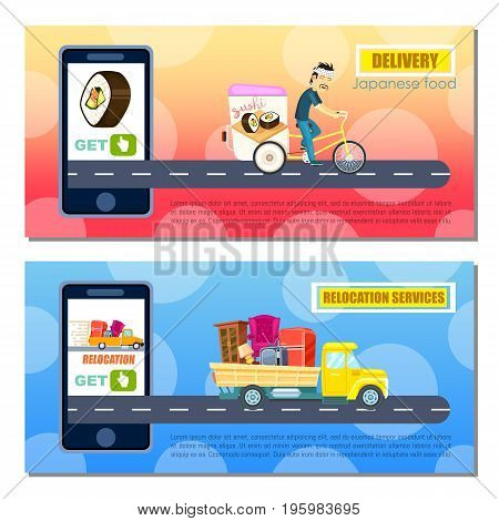 Japanese food and relocation service flyers. Express delivery poster with courier man on bicycle. Transport company banner with truck, moving service. Online order on mobile app vector illustration