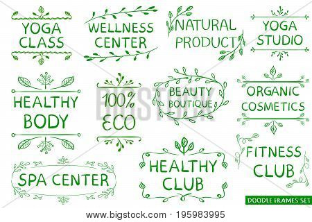 VECTOR set: green hand drawn eco, healthy, fitness, spa center signs isolated on white