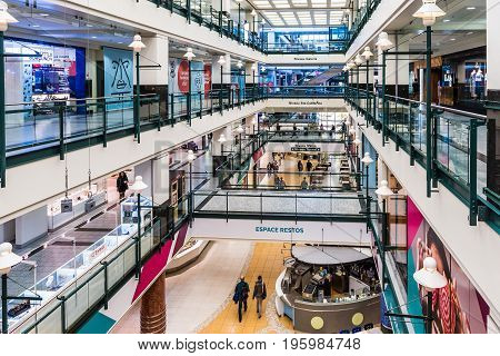 Montreal, Canada - May 26, 2017: Underground City Shopping Mall In Downtown Area At Niveau Metro In