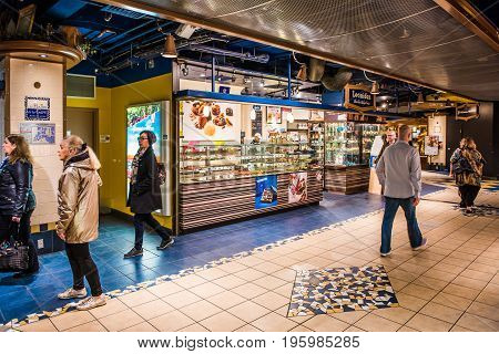 Montreal Canada - May 26 2017: Underground city in Quebec region with restaurants and bakeries and people walking