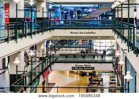Montreal Canada - May 26 2017: Underground city shopping mall in downtown area at Niveau Metro in Quebec region