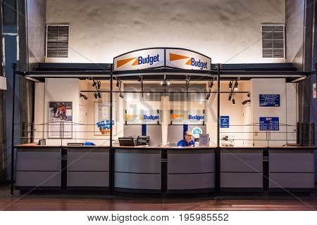 Montreal Canada - May 26 2017: Budget rental office in underground city in Quebec region in train station with employee