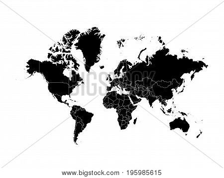 Black World map political, isolated on white background. Worldmap Vector template. Flat world Earth illustration.