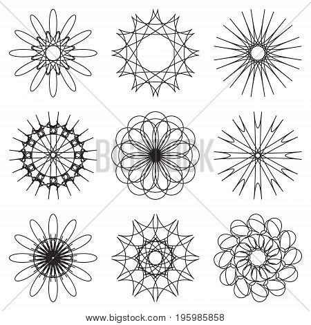 set of contour spirographic icons. Vector illustration