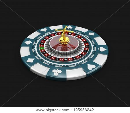 Casino Blue Chip And Roullette, Isolated Black 3D Illustration