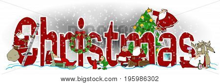 Illustration of the word Christmas with illustrations of Santa and Mrs. Claus, an elf, reindeer and a tree interspersed.